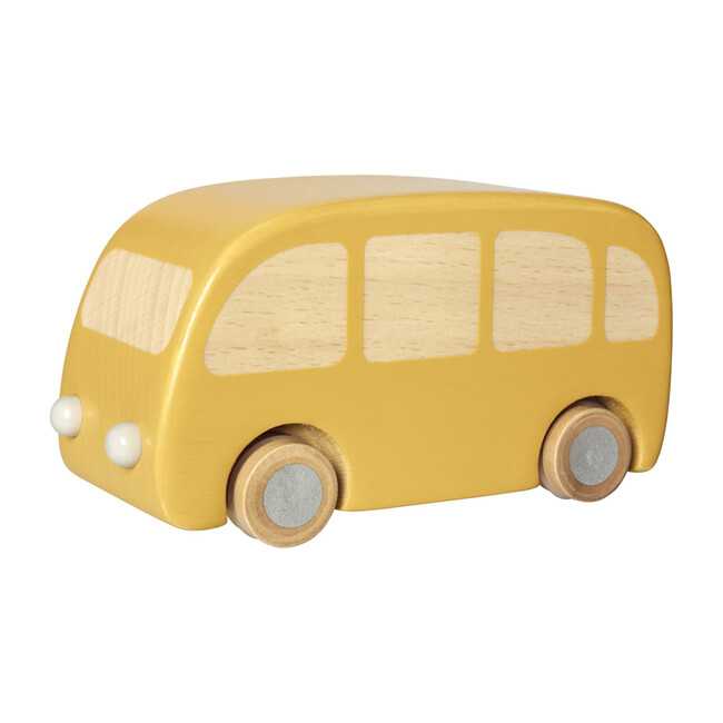 Wooden Pull Back Bus, Yellow
