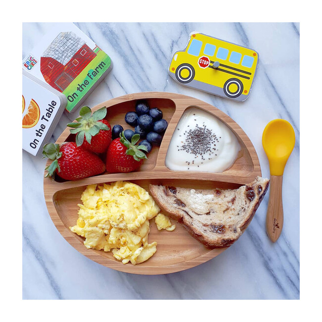 Baby Bamboo Stay Put Suction Plate + Spoon, Yellow