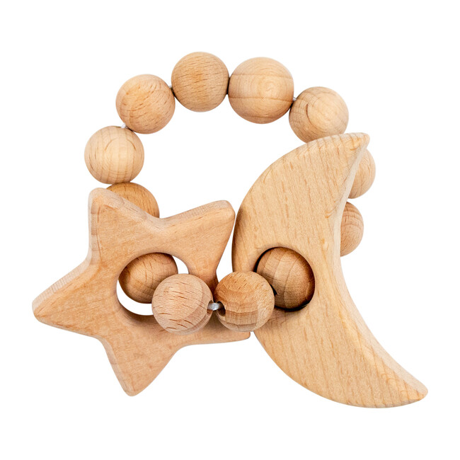 Wooden Teether, Star & Moon