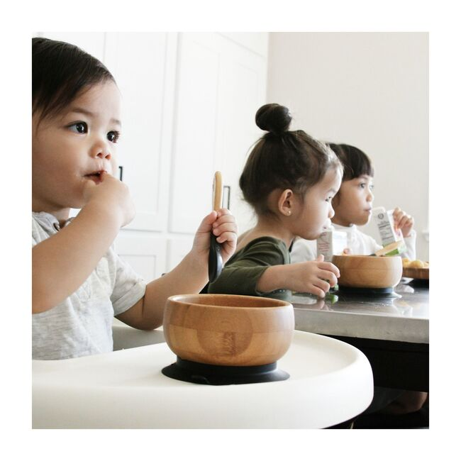 Baby Bamboo Stay Put Suction Bowl + Spoon, Grey