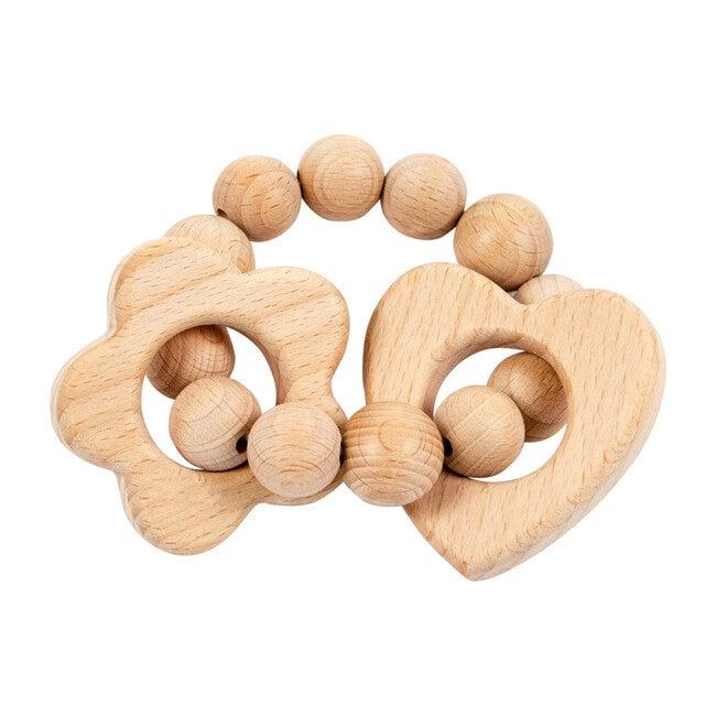 Wooden Teether, Flower & Heart