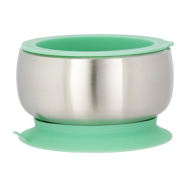 Stainless Steel Stay Put Suction Bowl + Airtight Lid, Green