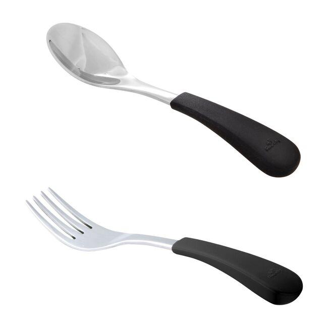 Stainless Steel-Baby Spoon & Fork, Black