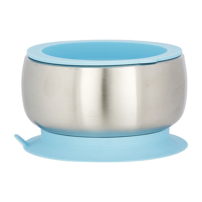 Stainless Steel Stay Put Suction Bowl + Airtight Lid, Blue