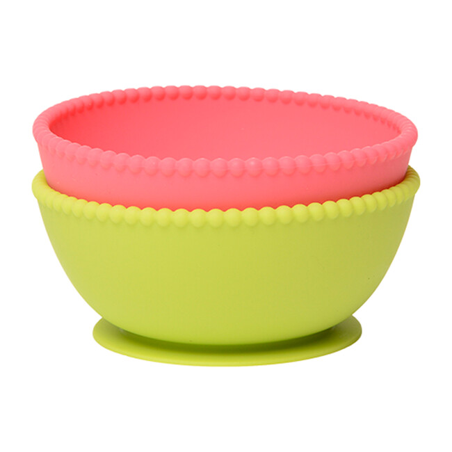 Silicone Suction Bowls, Bright Pink/Chartreuse