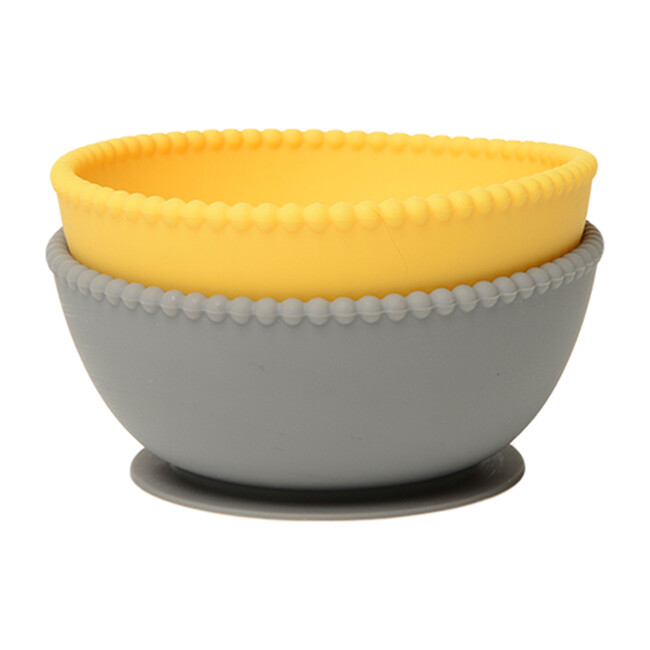 Silicone Suction Bowls, Yellow/Grey