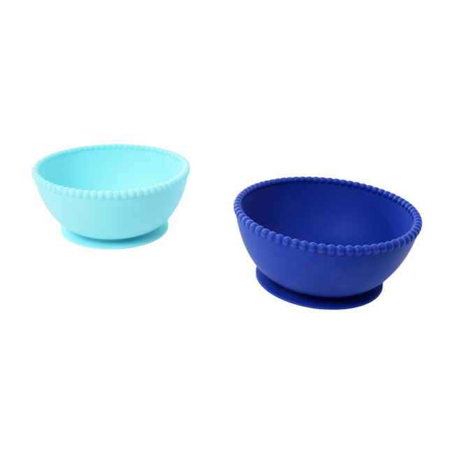 Silicone Suction Bowls, Turquoise/Cobalt