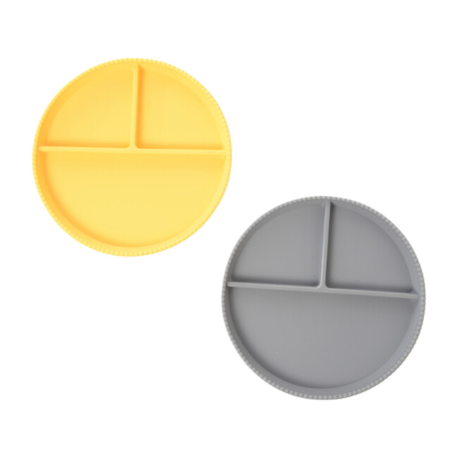 Silicone Divided Plates, Yellow/Grey