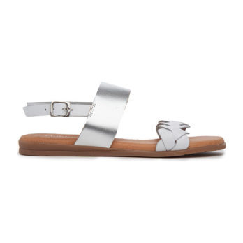 Leather Braided Sandals, White and Silver