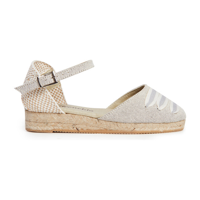Canvas Espadrille Sandals with Striped Weave, Grey
