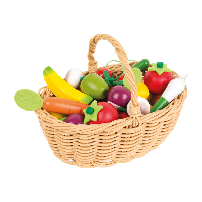 24 Pieces Fruits & Vegetables Basket - Play Food - 1
