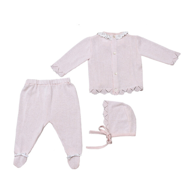 Knitted 3-Piece Set with Ribbons, Pink