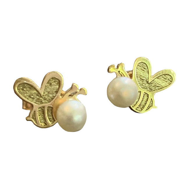 14kt Gold Bee with Pearl