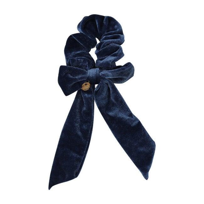 Ecstasy Velvet Bow Scrunchie, Steel Blue