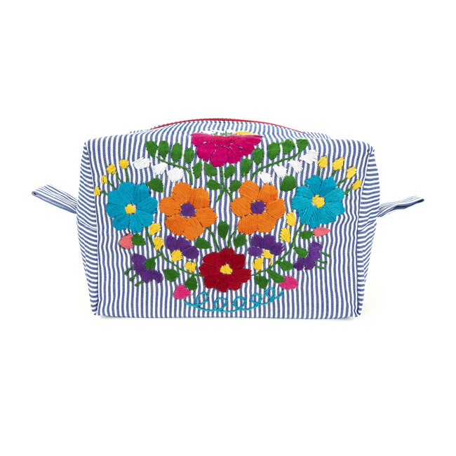 Puebla Cosmetics Bag, Blue Stripe Multi