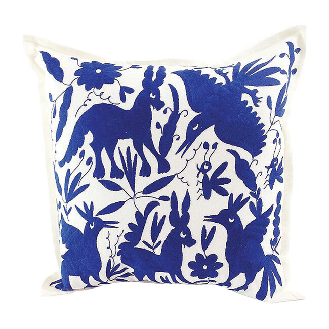 Otomi Embroidered Pillow, Royal