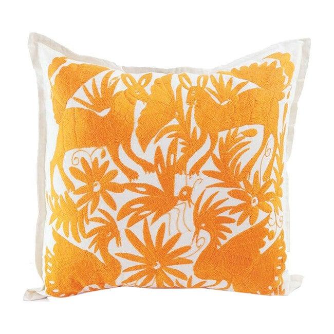 Otomi Embroidered Pillow, Orange