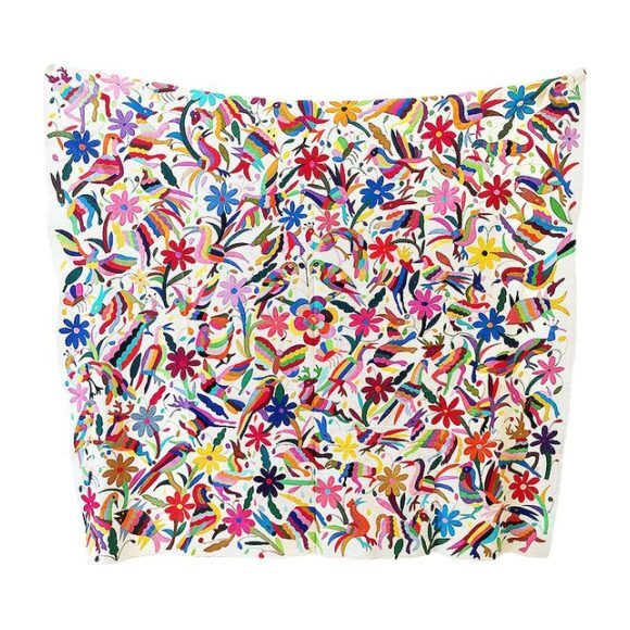 Extra Large Otomi Embroidered Wall Hanging, Multi