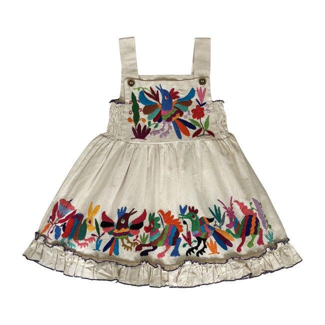Otomi Smocked Bib Dress, Natural/Multi