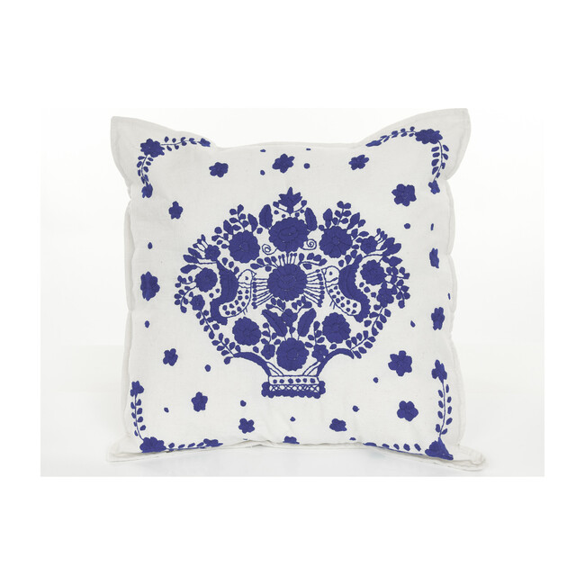 Pueblo Embroidered Pillow, White/Royal