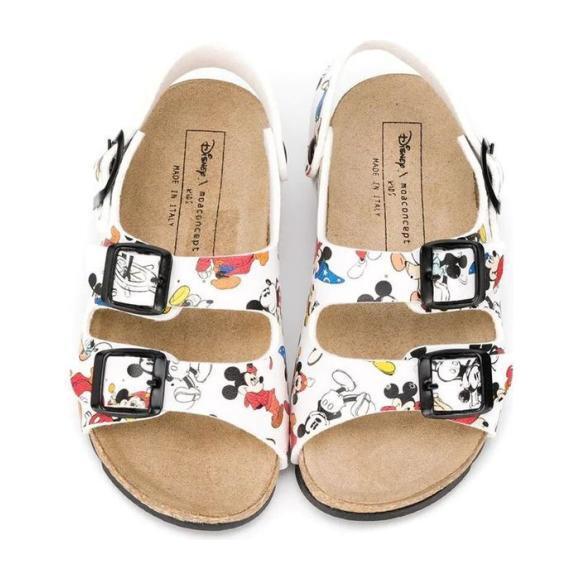 Mickey Print Sandals, White