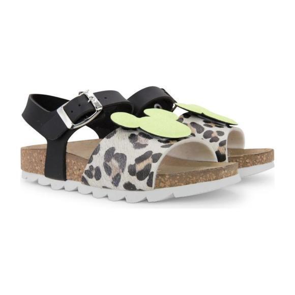 Mickey Logo Leopard Sandals, Yellow