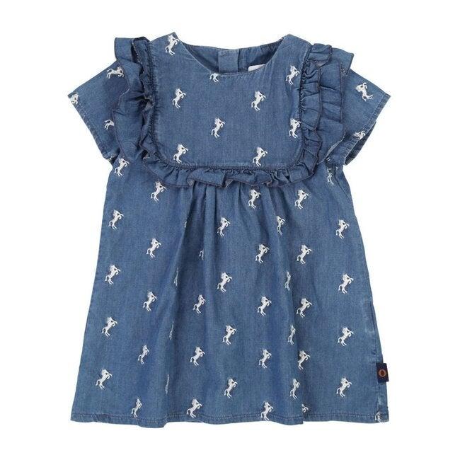 Denim Horse Print Dress, Blue