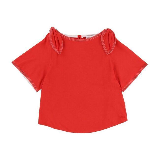 Coral Shoulder Knot T-Shirt, Orange