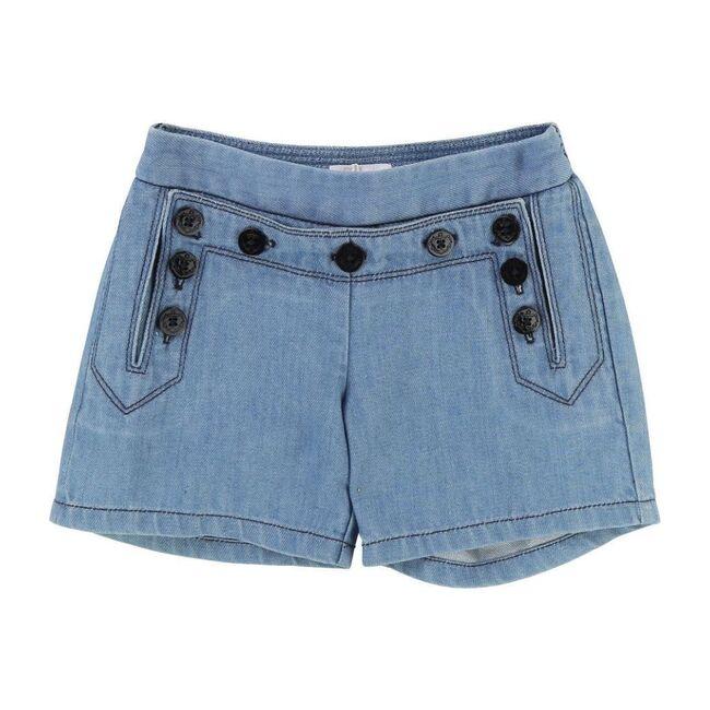 Button Shorts, Blue