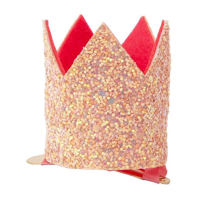 Mini Pink Glitter Crown Hair Clip