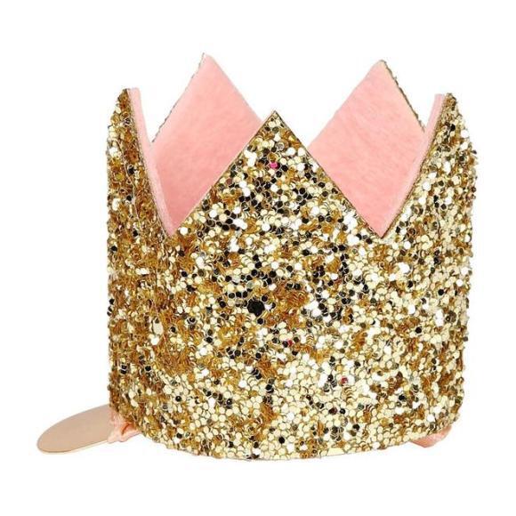 Mini Glittered Crown Hair Clip