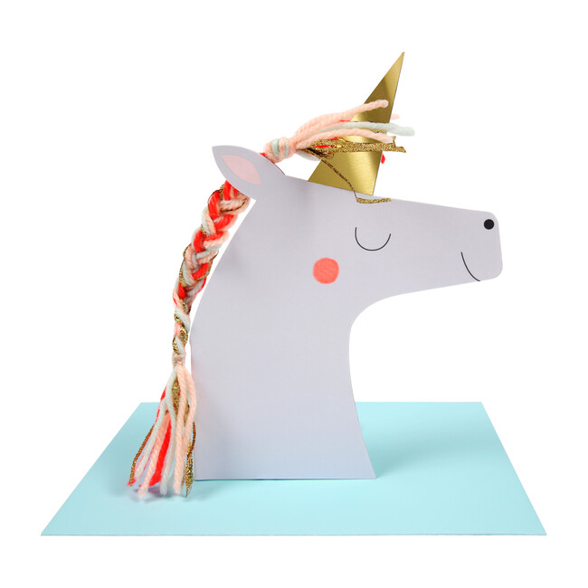 Unicorn with Colored Braid Card