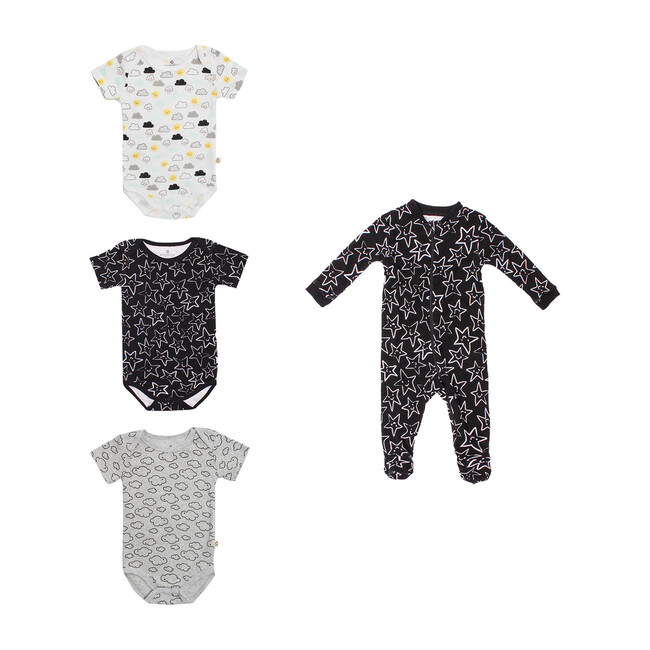 Sleeper + Bodysuit Bundle, Black White & Grey