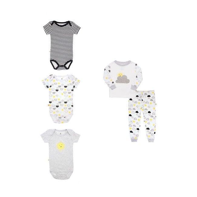 Pajamas + Bodysuit Bundle, White and Black