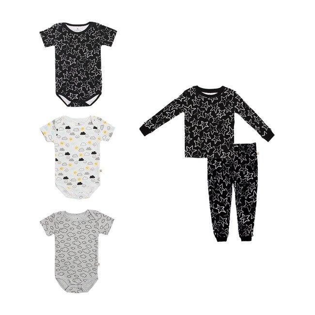 Pajamas + Bodysuit Bundle, Black White & Grey