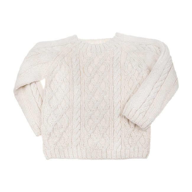 Cable Knit Sweater, Cream - Sweaters - 1