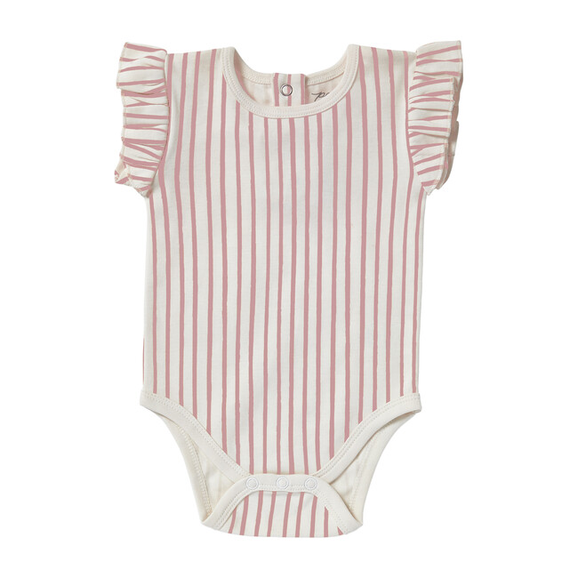 Organic Stripes Away Short Sleeve Ruffle One-Piece, Pink
