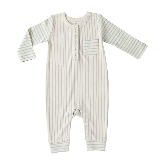 Stripes Away Contrast Romper, Pebble/Sea