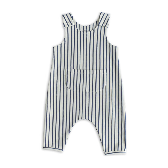 Stripes Away Organic Cotton Overall Romper, Ink
