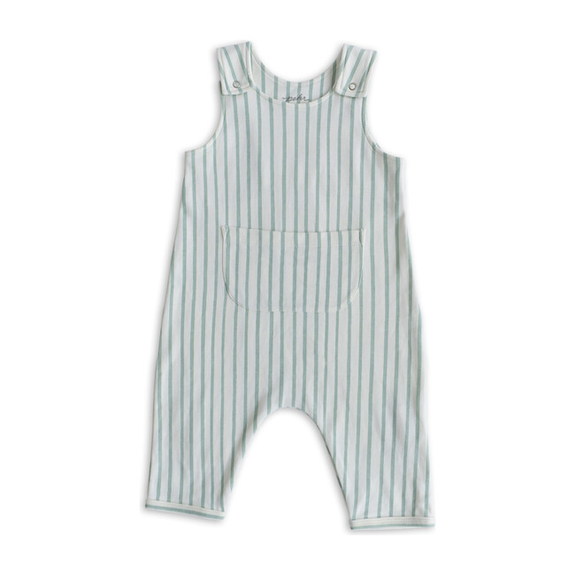 Stripes Away Organic Cotton Overall Romper, Sea
