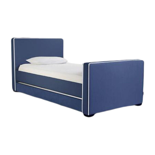 Dorma High Headboard Trundle Bed, Navy Microfiber & Walnut Frame