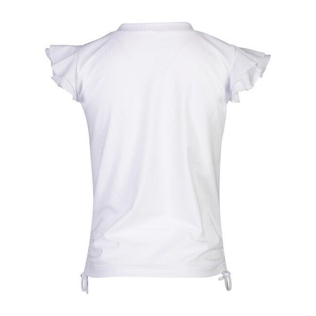 White Flutter Sleeve Rash Top