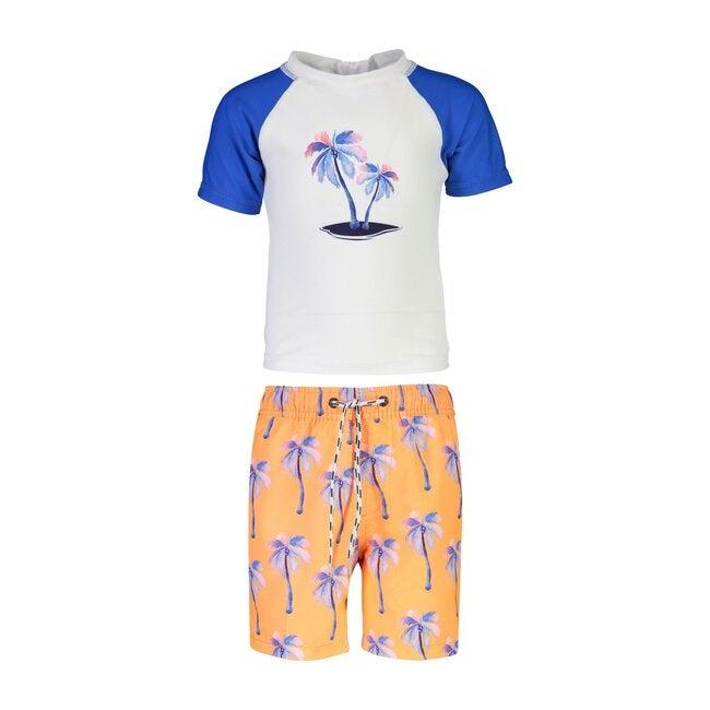 Sunset Moorings Palm Short Sleeve Baby Swim Set