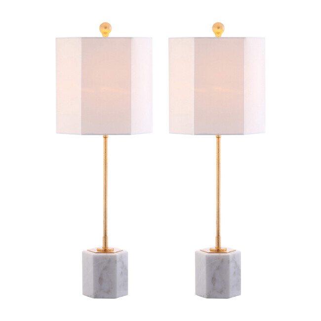Set of 2 Magdalene Marble Table Lamps, White/Gold