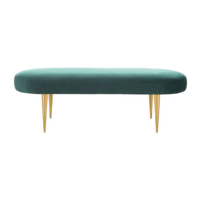 Corinne Velvet Oval Bench, Emerald