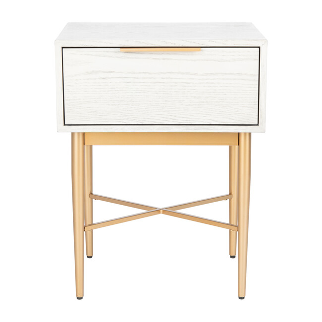 Pierre One Drawer Nightstand, Washed White/Gold