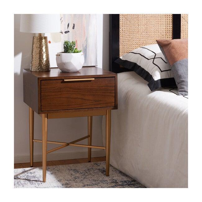 Pierre One Drawer Nightstand, Walnut/Gold