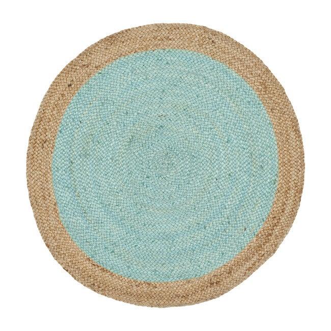 Layla Round Flatweave Rug, Aqua