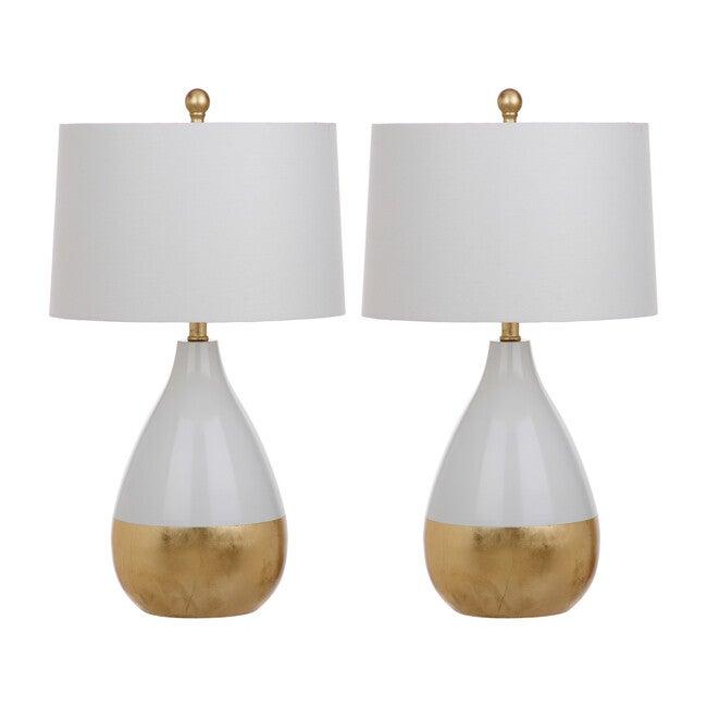 Set of 2 Kingship Table Lamps, White