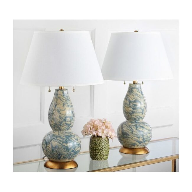 Set of 2 Color Swirls Glass Lamps, Blue